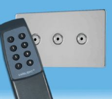 V-Pro IR, 3 Gang, 100 Watt Remote Control/Touch LED Dimmer, Screwless Mirror Chrome inc Remote -